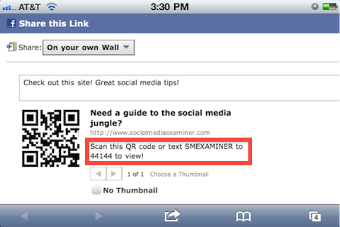 clickable CTA on Facebook post sharing QR code so mobile users can access it