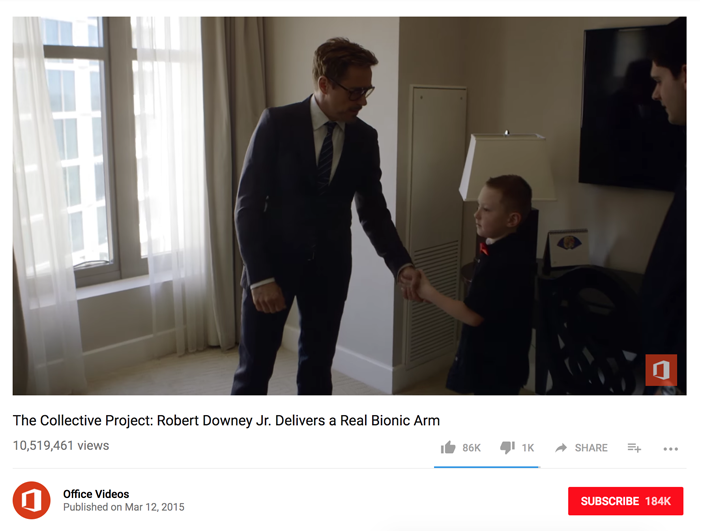 screenshot of video of Robert Downey Jr. with young child