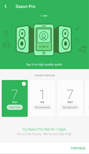 music app that offers multiple ways to pay – monthly, annually, weekly