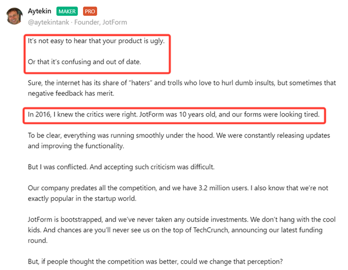 sample email comment about product on Product Hunt