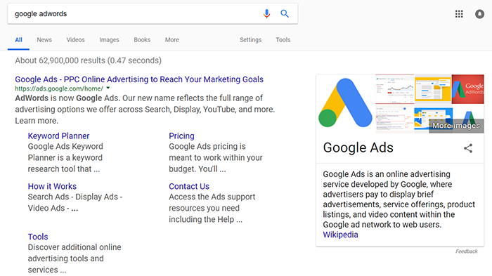 Search for Google AdWords