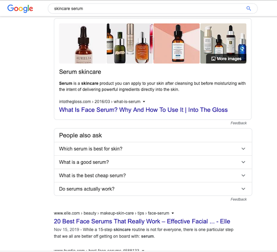 how to use serum search engine results page
