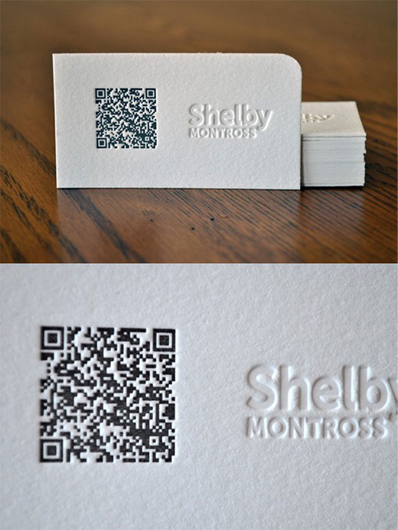 Shelby Montross' business card has QR code