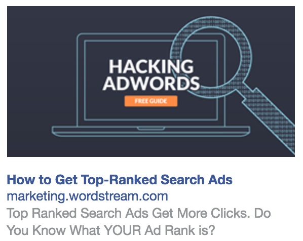 example of sidebar ad on Facebook