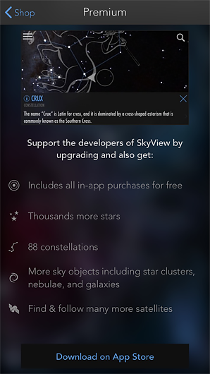 Example of SkyView's lite and premium mobile apps