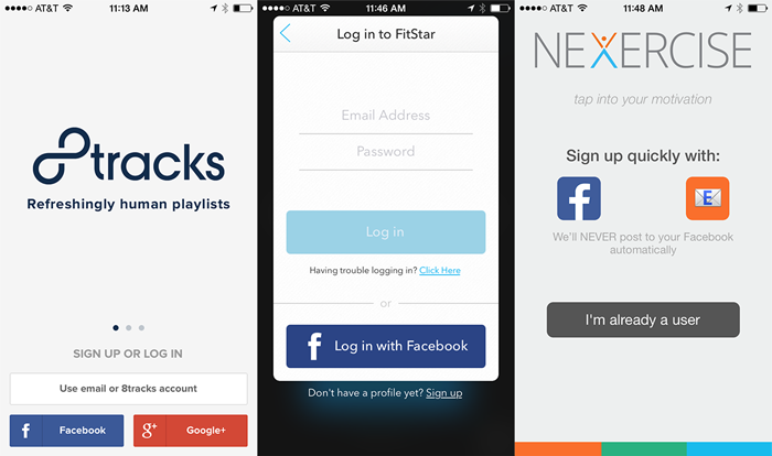 example of social media-integrated onboarding login screens on different apps