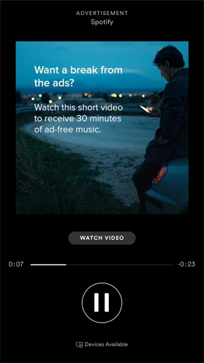 rewarded video ad on the Spotify mobile app