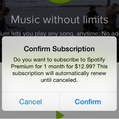 Spotify as an example of subscription model of app monetization