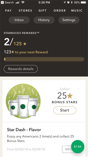 example of Starbucks' loyalty rewards app