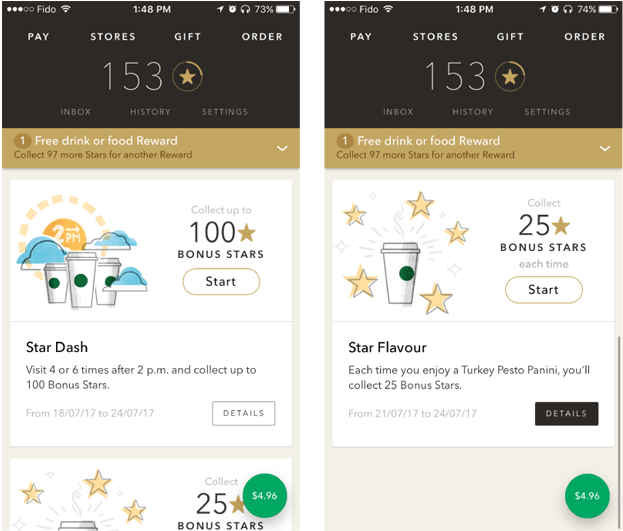 Starbucks distributes redeemable rewards through its app throughout app onboarding