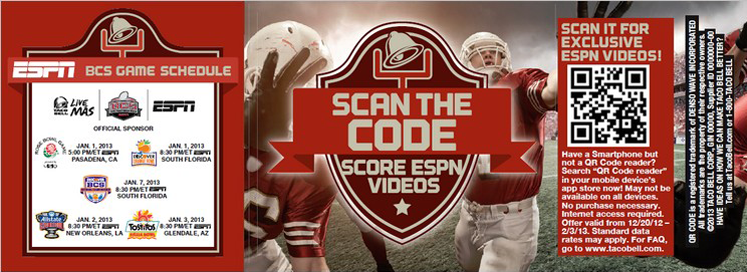 Taco Bell and ESPN QR code campaign for football season