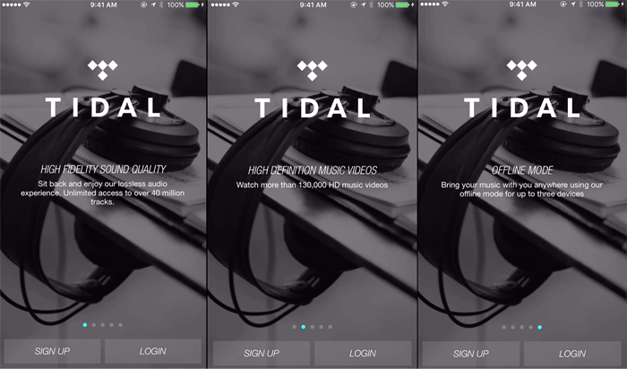 music app TIDAL highlights app features during app onboarding