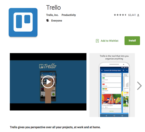 screenshot of productivity app Trello in the App Store
