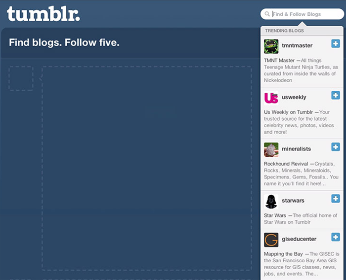 Tumblr encourages users to take additional actions, such as following 5 blogs, while they complete the onboarding process