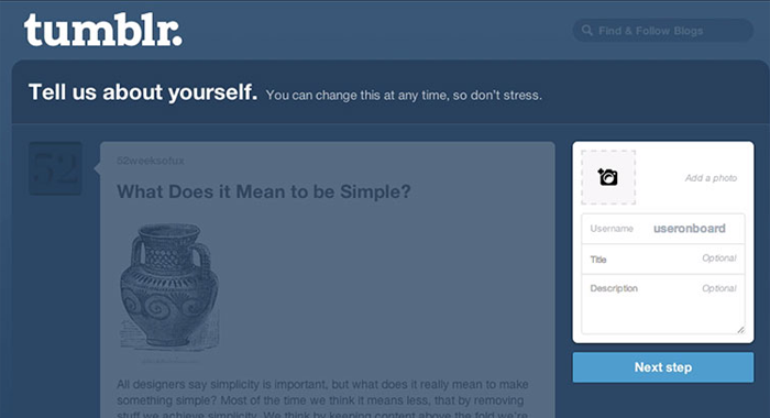 Tumblr encourages app users to update their user profile during the app onboarding process