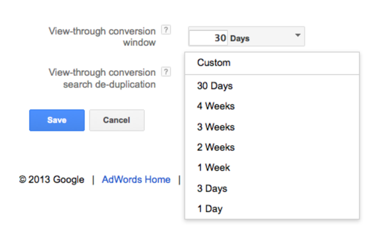 example of view through conversions in an ad dashboard