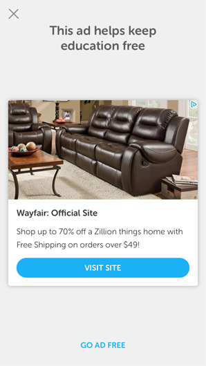 interstitial ad for Wayfair