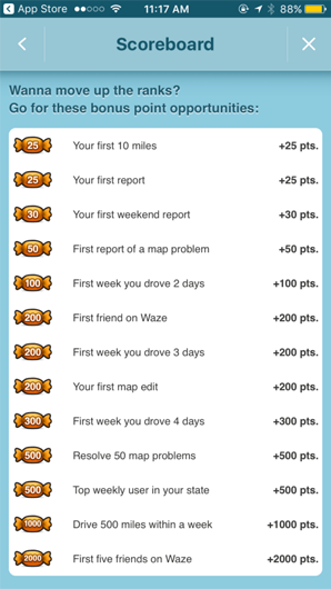 """Waze app rewards users with points every time they get a """"first"""" – interact with or use a new feature"""