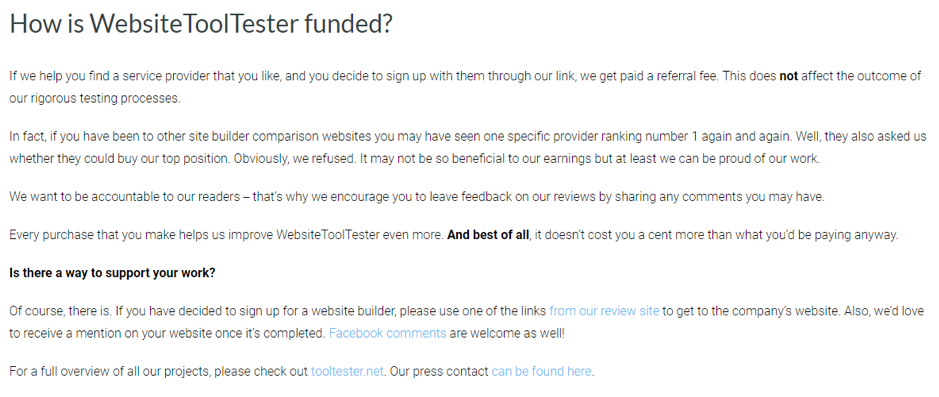website tool testing funding