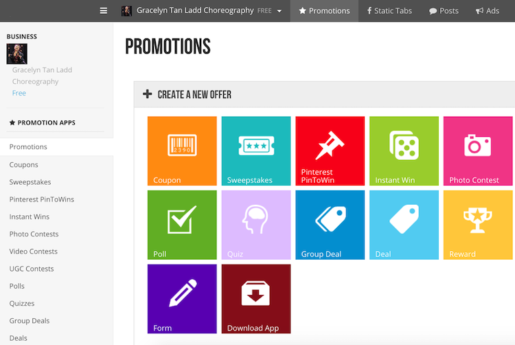 woobox social media promotion dashboard tool